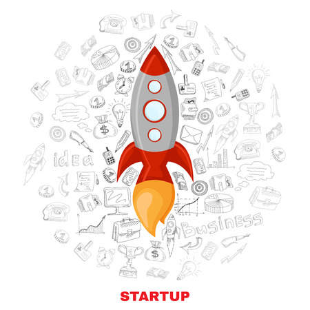 satellite launch: New business company successful startup launch planning concept icons background with satellite symbol poster abstract vector illustration Illustration