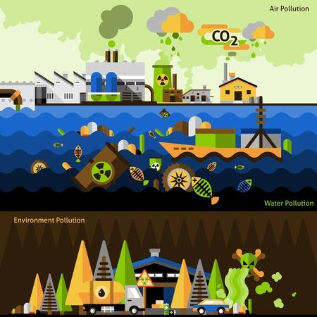 contaminacion aire: Banderas horizontales contaminación establecidos con elementos del entorno agua aire aislado ilustración vectorial