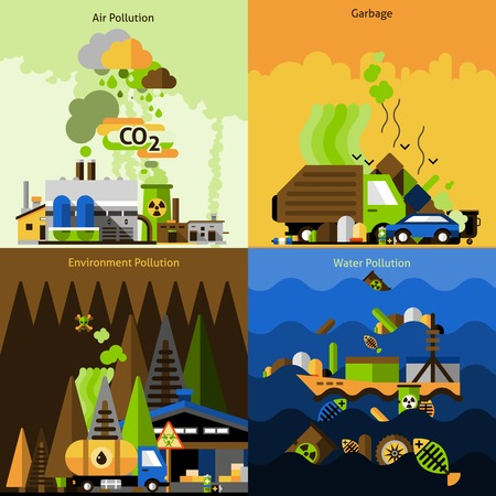 carbon pollution: Pollution design concept set with air environment water damage flat icons isolated vector illustration