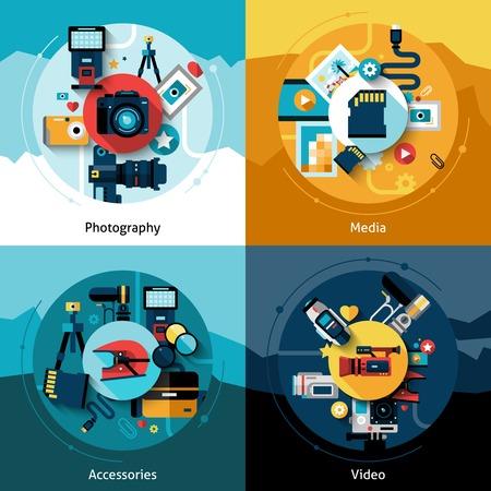 macchina fotografica: Disegno della macchina fotografica set di accessori fotografia media e video icone piane isolato illustrazione vettoriale