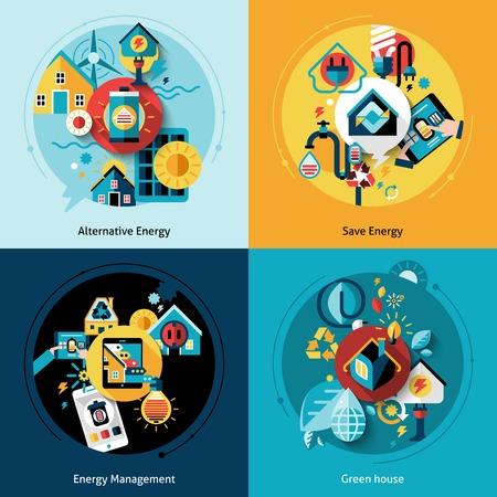 Energie-efficiëntie concept set met geïsoleerde alternatieve power management vlakke pictogrammen vector illustratie