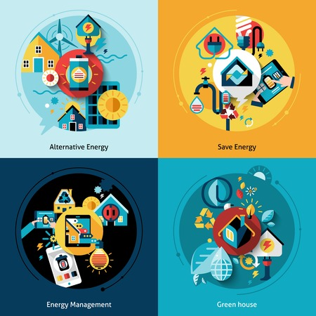 Energy efficiency design concept set with alternative power management flat icons isolated vector illustration Çizim