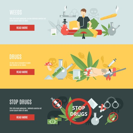 heroin: Drugs horizontal banner set with flat addiction elements isolated vector illustration Illustration