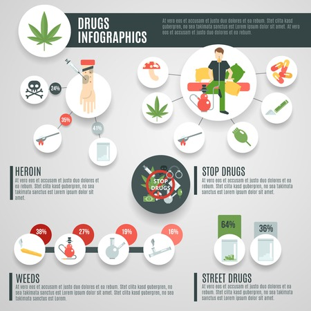 heroin: Drugs infographics set with mushrooms weeds crack symbols vector illustration