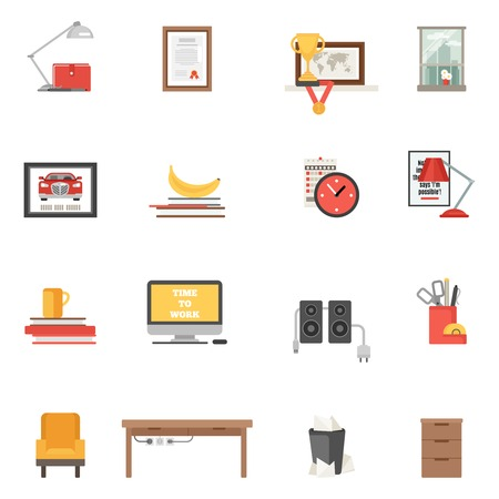 interior window: Work room interior single icons flat set isolated vector illustration