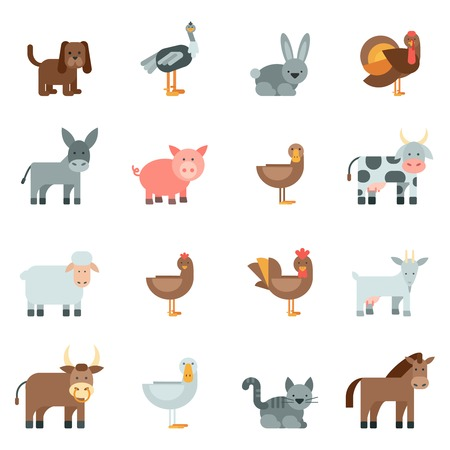 animal farm duck: Domestic animal flat icons set with dog rabbit donkey isolated vector illustration