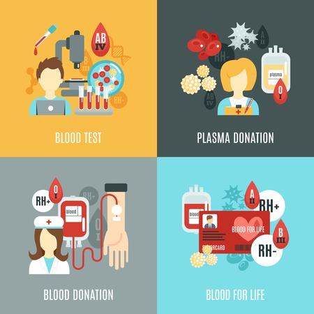 기증자 디자인 컨셉 혈액 검사 플라즈마 기부 평면 아이콘 격리 된 벡터 일러스트 레이 션 설정 일러스트