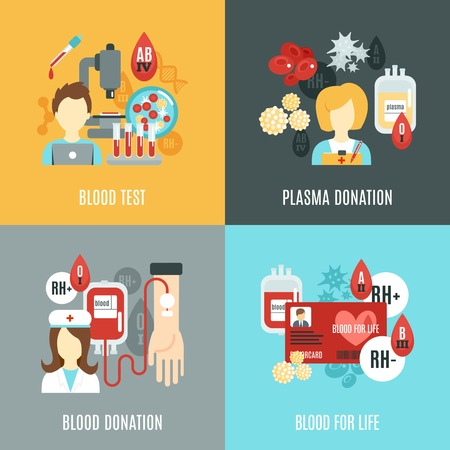 tests: Donor design concept set with blood test plasma donation flat icons isolated vector illustration