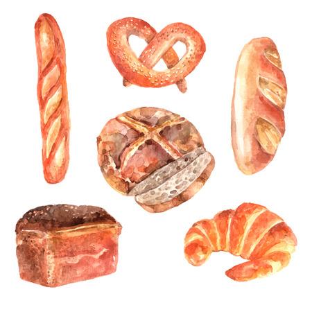 french pastry: Panes frescos de panader�a anuncio acuarela pictogramas colecci�n de baguette y pan blanco dibujo abstracto ilustraci�n vectorial
