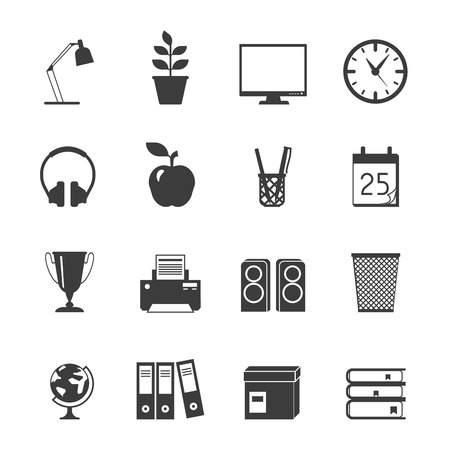 books isolated: Room workspace black flat icons set with globe lamp books isolated vector illustration Illustration