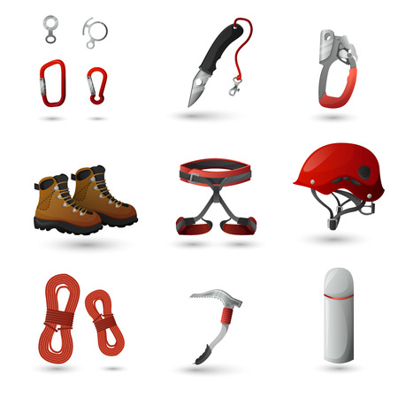 ice climbing: Mountain climbing equipment tools and accessories icons set with ice axe and harness abstract isolated vector illustration