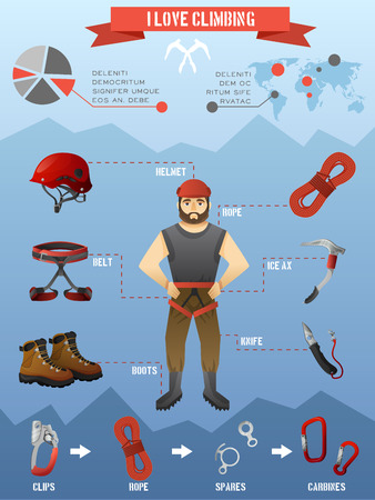 Rock climbing equipment gear and supply for alpinist infographic poster with mountains peaks background abstract vector illustration