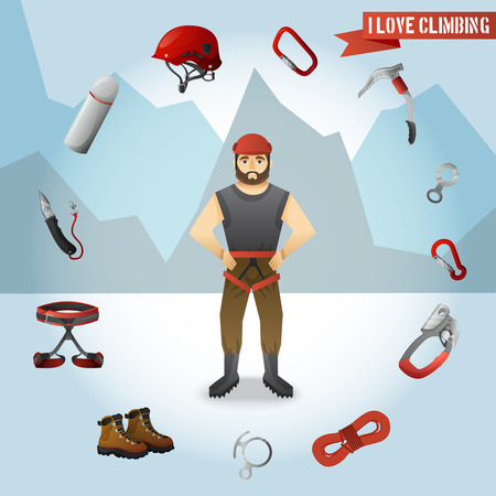 belay: Mountain climber cartoon character with alpinist tools and accessories circle against mountains background poster absrtact vector illustration