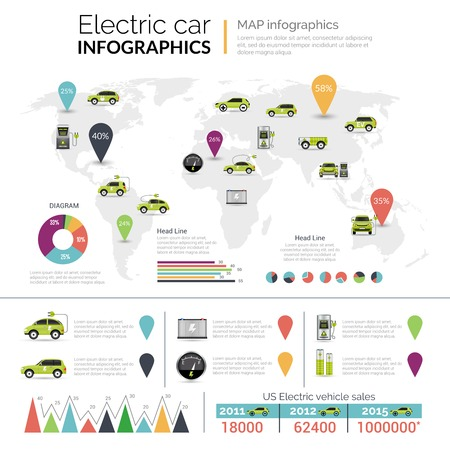 electric car: Electric car fuel economy infographics set with charts vector illustration Illustration