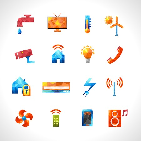 global cooling: Smart house security service and utilities control polygonal icons set isolated vector illustration