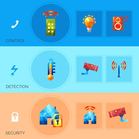 detection: Smart house horizontal banners set with security control detection polygonal elements isolated vector illustration Illustration