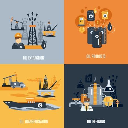 industriales: Industria del petr�leo concepto de dise�o conjunto con el transporte de productos de extracci�n y refinaci�n de iconos planos aislados ilustraci�n vectorial Vectores