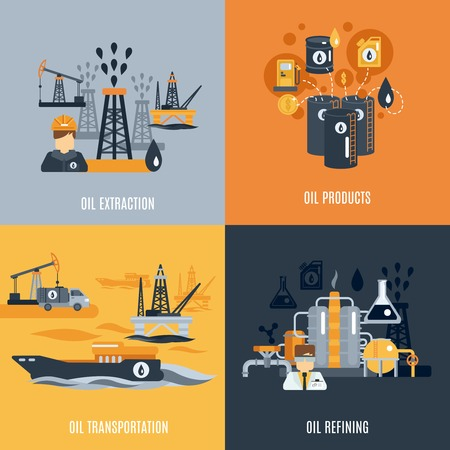 industry concept: Oil industry design concept set with products extraction transportation and refining flat icons isolated vector illustration