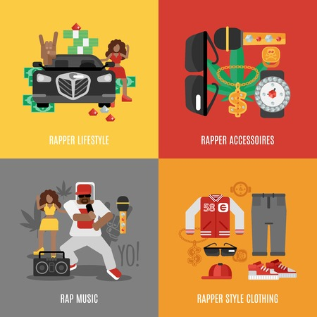 rap music: Rap music design concept set with rapper lifestyle clothing and accessories isolated vector illustration
