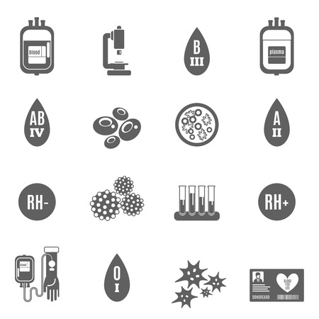 life cell: Blood donor health and medicine icon black set isolated vector illustration Illustration