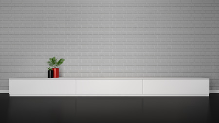 minimalist: Minimalistic interior with  white cupboard table and plants in pot and brick wall vector illustration