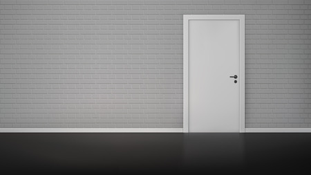 steel: Empty room interior with brick wall and closed white door realistic vector illustration