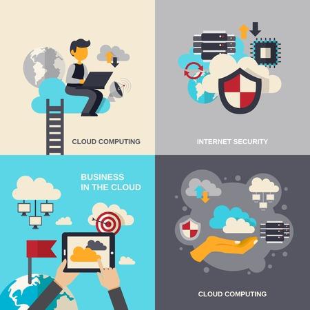 počítač: Cloud computing designový koncept set s bezpečností internetu a obchodu ploché ikony izolované vektorové ilustrace