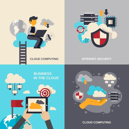 seguridad social: Nube concepto de diseño computacional establece con la seguridad de Internet y de negocios iconos planos aislados ilustración vectorial