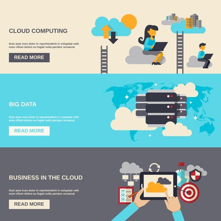 flat panel monitor: Cloud computing horizontal banner set with big data flat elements isolated vector illustration
