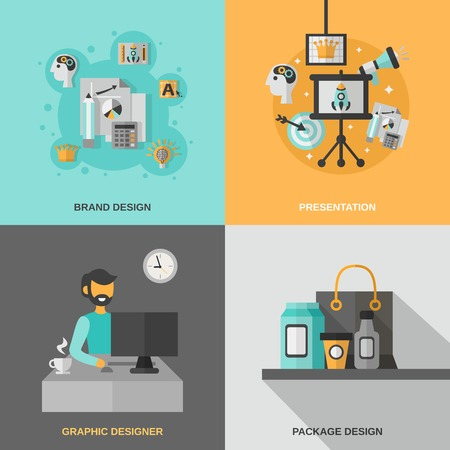 packaging industry: Branding design concept set with graphic designer presentation flat icons isolated vector illustration Illustration