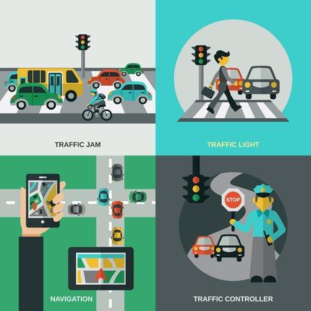 señales trafico: Tráfico concepto de diseño conjunto con iconos planos del controlador de luz de navegación ilustración vectorial aislado
