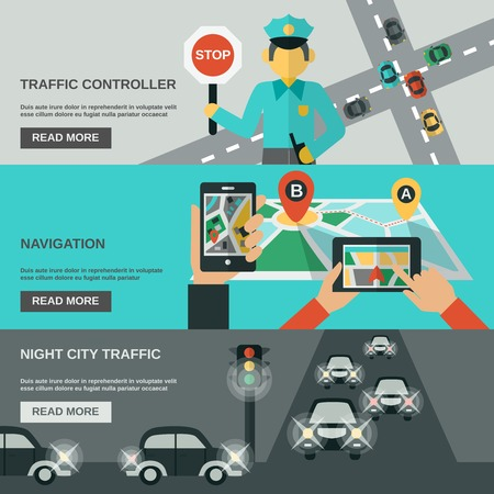 Traffic horizontal banner set with navigation and night city flat elements isolated vector illustration Ilustracja