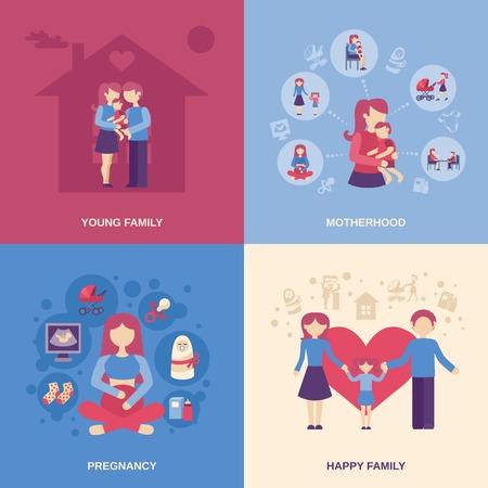 La maternità concetto di design set con i giovani le icone piane famiglia felice isolato illustrazione vettoriale