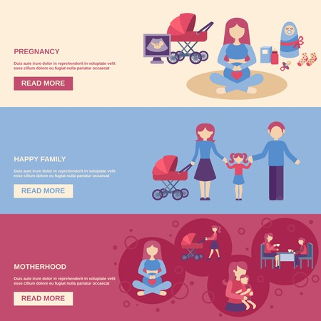 motherhood: Motherhood horizontal banner set with pregnancy and happy family flat elements isolated vector illustration