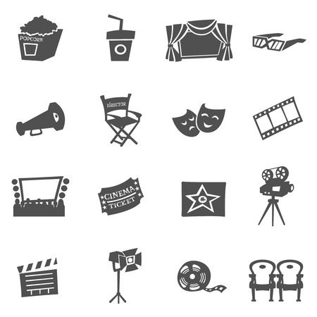 Cinema movie and film icons black flat set isolated vector illustration Ilustrace
