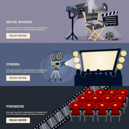 funny movies: Cinema horizontal banner set with movie making premiere flat elements isolated vector illustration