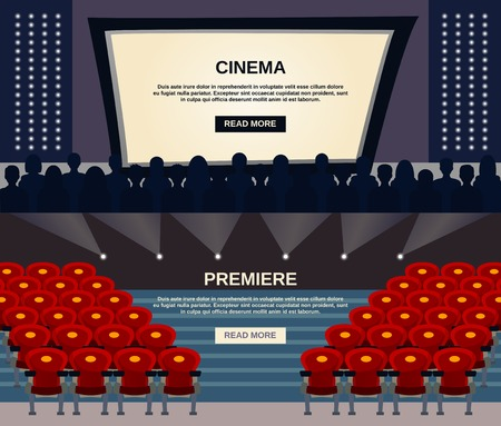 show time: Cinema horizontal banner set with viewers in auditorium and screen flat elements isolated vector illustration Illustration