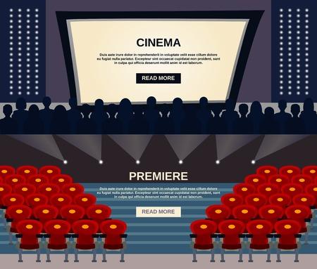 Cinema horizontale banner die met de kijkers in auditorium en het scherm flatscreen-elementen geïsoleerd vector illustratie