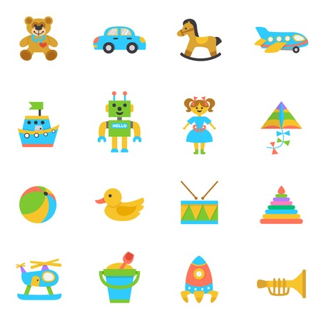 toy boat: Toys flat icon set with rocking horse kite football ball isolated vector illustration