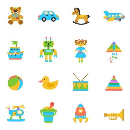 animal kite: Toys flat icon set with rocking horse kite football ball isolated vector illustration