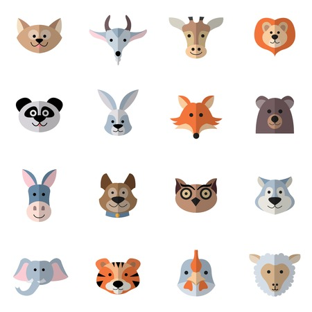 head phones: Animals characters flat set with donkey fox rabbit heads isolated vector illustration