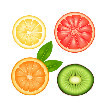 sliced: Frutas en rodajas vista superior conjunto de naranja pomelo lim�n y kiwi aislados ilustraci�n vectorial Vectores