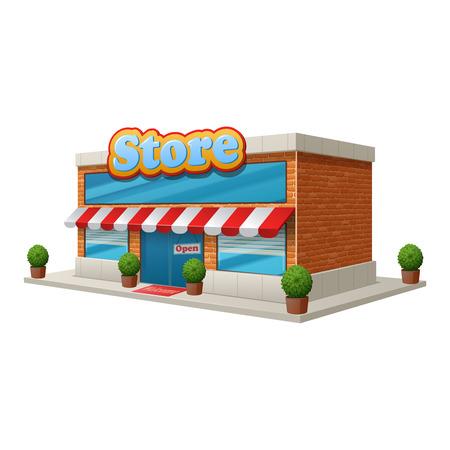 anuncio publicitario: Edificio de tienda tienda de comestibles aisladas sobre fondo blanco ilustraci�n vectorial