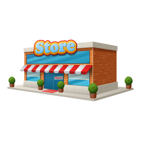 store front: Store grocery shop building isolated on white background vector illustration