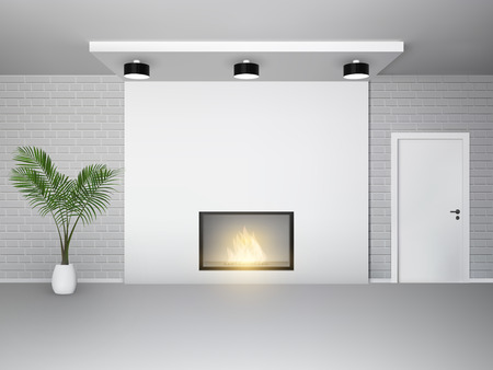 minimalist: Fireplace interior with palm tree white door and brick wall vector illustration