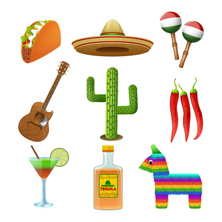pinata: Mexican culture flat icons set with tequila sombrero and hot chili pepper taco abstract isolated vector illustration