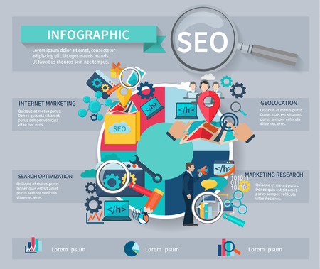 engine: Seo marketing infographics set with internet search website search optimization symbols and charts vector illustration
