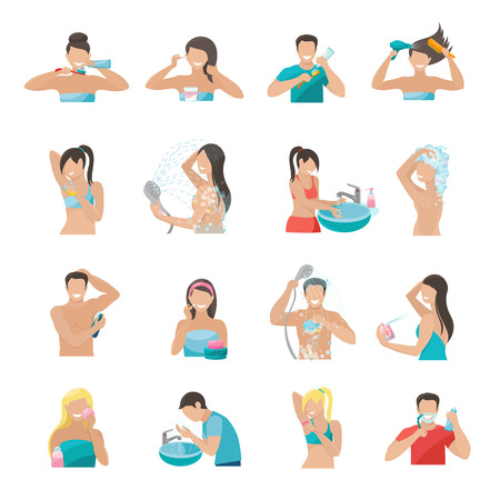 Hygiene icons flat set with people brushing teeth washing face and taking shower isolated vector illustration
