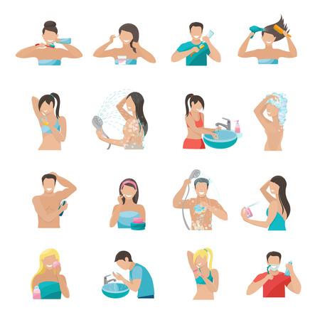 Hygiene Symbole flach mit Menschen Zähneputzen und Waschen Gesicht unter Dusche isolierten Vektor-Illustration festgelegt Standard-Bild - 40459175