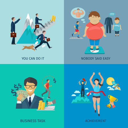 task: Motivation design concept set with business task and achievement flat icons isolated vector illustration Illustration